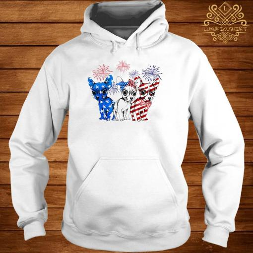 Chihuahua Blue White And Red American Flag Shirt hoodie