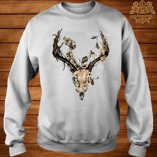 Cow Bull Skull Flower Shirt sweater