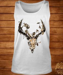 Cow Bull Skull Flower Shirt tank-top