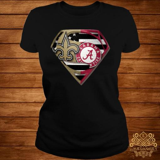 Orleans Saints And Alabama Crimson Superman Shirt ladies-tee
