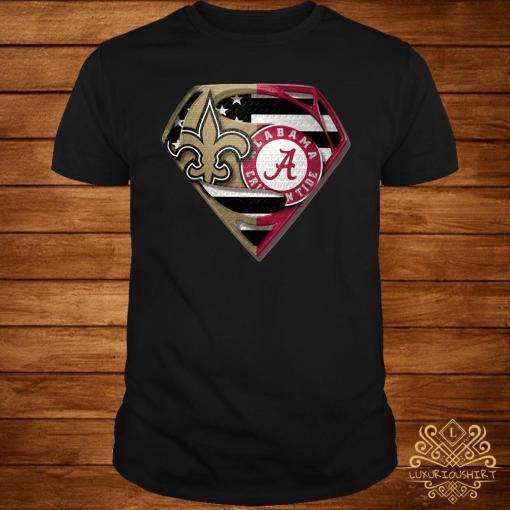 Orleans Saints And Alabama Crimson Superman Shirt