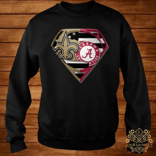 Orleans Saints And Alabama Crimson Superman Shirt sweater