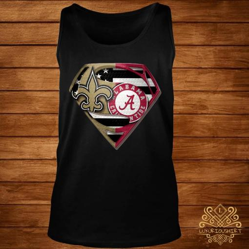 Orleans Saints And Alabama Crimson Superman Shirt tank-top