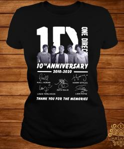 1D One Direction 10th Anniversary 2010 2020 Thank You For The Memories Shirt ladies-tee