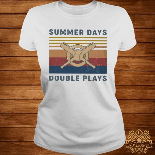 Baseball Summer Days Double Plays Vintage Shirt ladies-tee