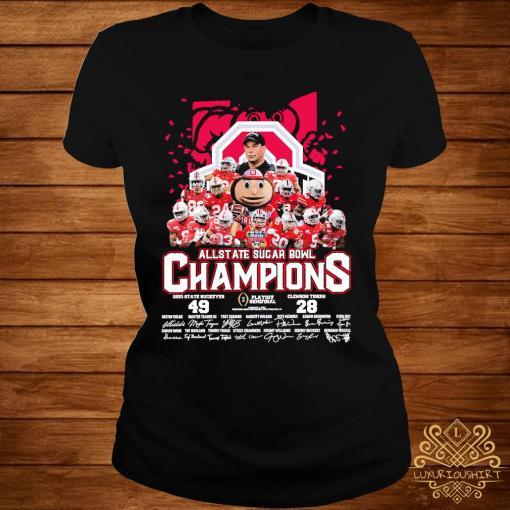 Allstate Sugar Bowl Champions Ohio State Buckeyes 49 Clemson Tigers 28 Signatures Shirt ladies-tee