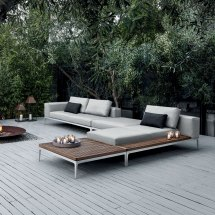 Gloster Grid Modular Sofa - Ottoman Luxury Outdoor Living