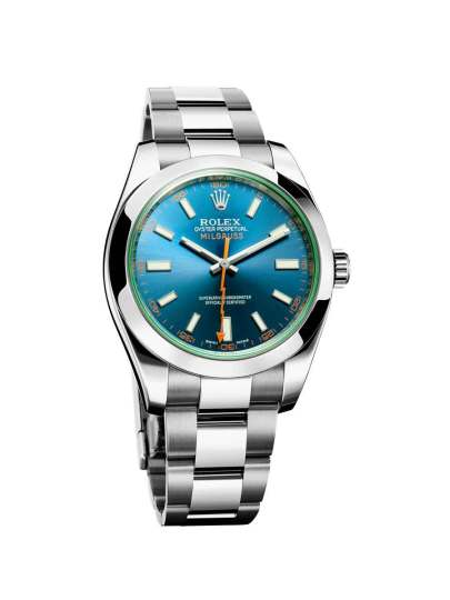 Rolex Milgauss med både grøntonet safirglas, blå skive og orange sekundviser er et af de mindre diskrete ure fra den schweiziske gigant.