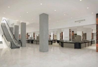 Minimalistisk og indbydende indgang til den nye Bucherer-butik.