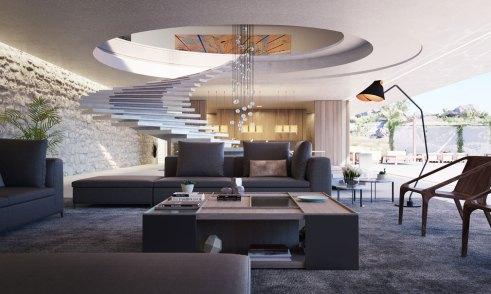 En cirkulær, bred og nærmest svævende trappeopgang fører fra den åbne stue op til husets øvre niveau.