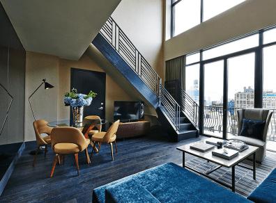 Suiten Sixty Loft på hotellet Sixty Soho breder sig over to etager