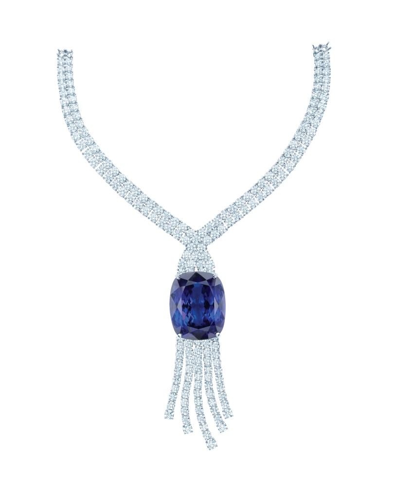 Tiffany & Co. jubilæumshalskæde af platin med en cushionsleben tanzanit på lidt over 175 carat og en kaskade af brillanter.