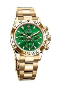 Den udødelige Rolex klassiker, opkaldt efter den berømte amerikanske racerbane i Florida. Her i seneste udgave med fuld guld-uniform og grøn skive. Rolex Cosmograph Daytona, 247.100 kr.