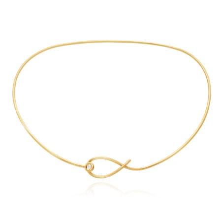 Dulong Fine Jewelrys 'Kharisma'-halsring af 18 karat guld med en 0.13 carat brillant til 39.900 kr.