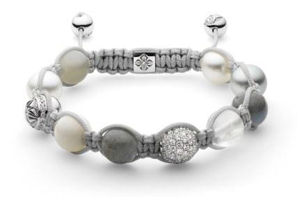 Shamballa Jewels-armbånd med en South Sea kulturperle og en Tahiti kulturperle, labradoritter, månesten og hvid koral. Detaljer af 18 karat hvidguld med farveløse diamanter. 111.300 kroner