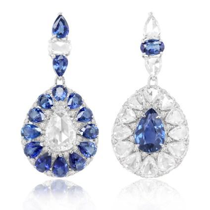 Øreringe af 18 karat hvidguld med i alt 10.5 carat safirer og 9.5 carat brillanter og roseslebne diamanter – pris på anmodning