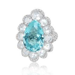 Unikaring af 18 karat hvidguld med en 20 carat Paraíba turmalin og i alt 10 carat roseslebne diamanter og brillanter – pris på anmodning