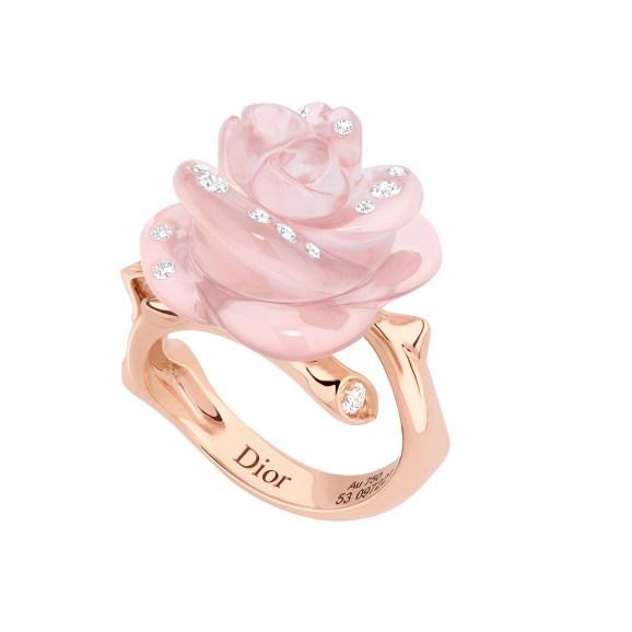 Dior Pré Catelan Rose-ring af 18 karat pink guld med udskåren rosakvarts og diamanter
