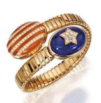 18-karat-gold-lapis-lazuli-coral-and-diamond-stars-and-stripes-bangle-bracelet-bulgari-sothebys