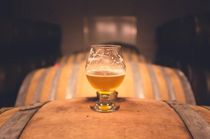 beer glass on barrel