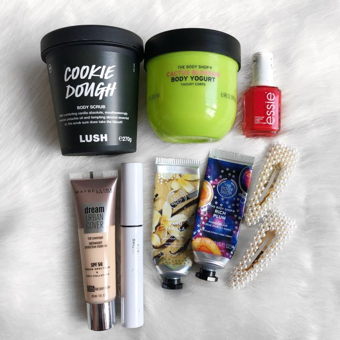Flatlay of empty products