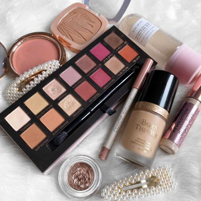 Makeup flatlay for 21 Questions beauty edition