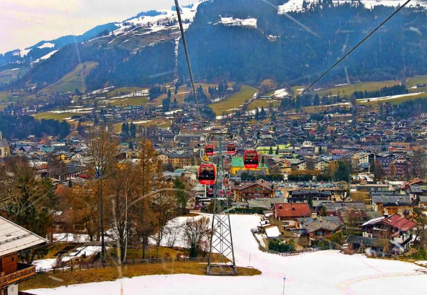The main ski lift in Kitzbuehel, Austria