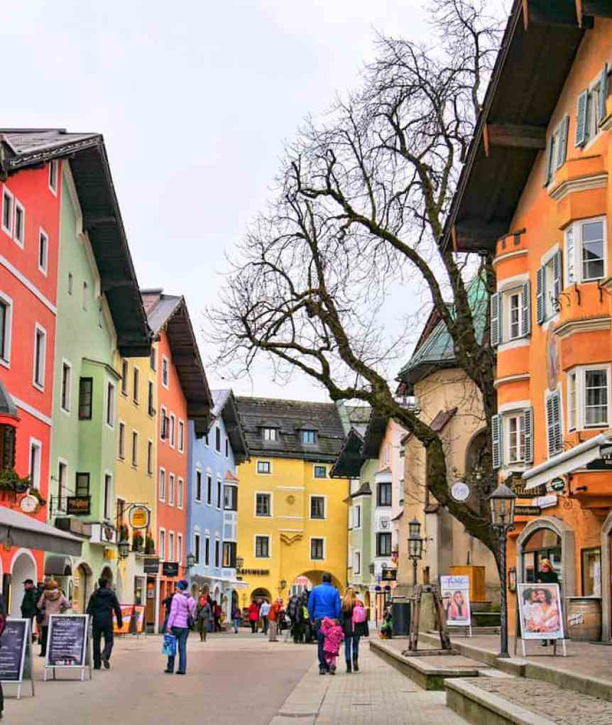 Colourful village houses in the charming ski village of Kitzbuehel, Austria