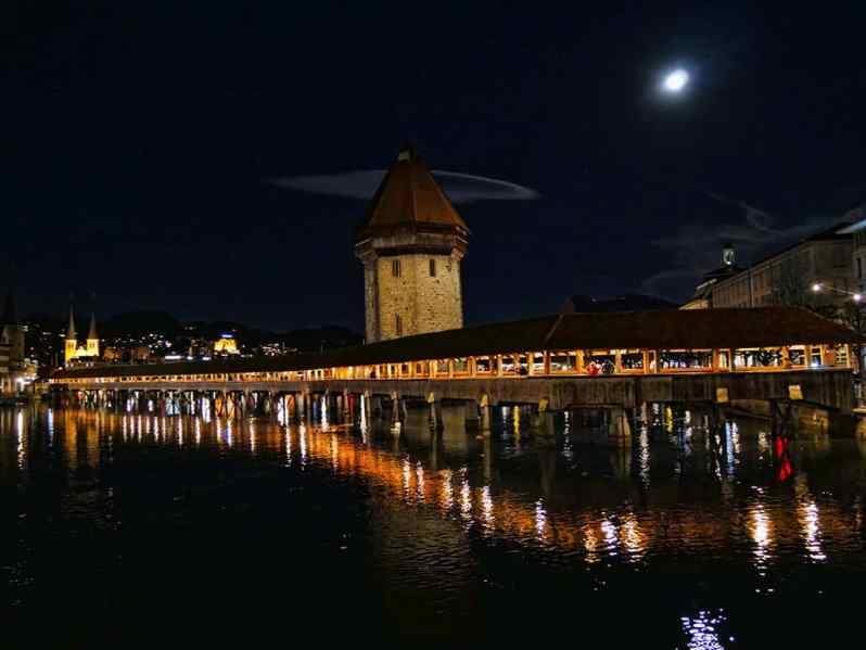 Luzern Switzerland wooden bridge