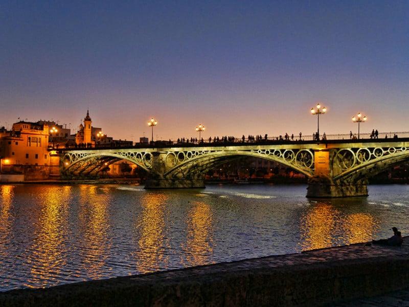 Seville tiana bridge sunset