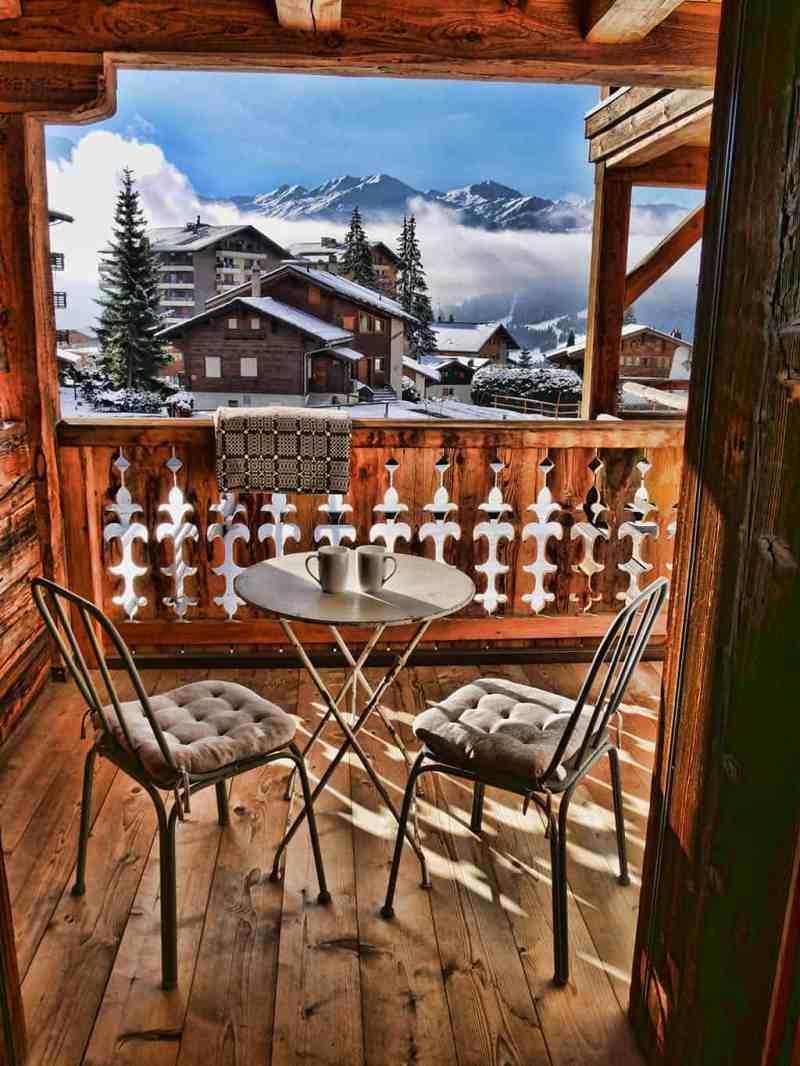 The balcony at Hotel La Cordee des Alpes, one of the best luxury hotels in Verbier, Switzerland