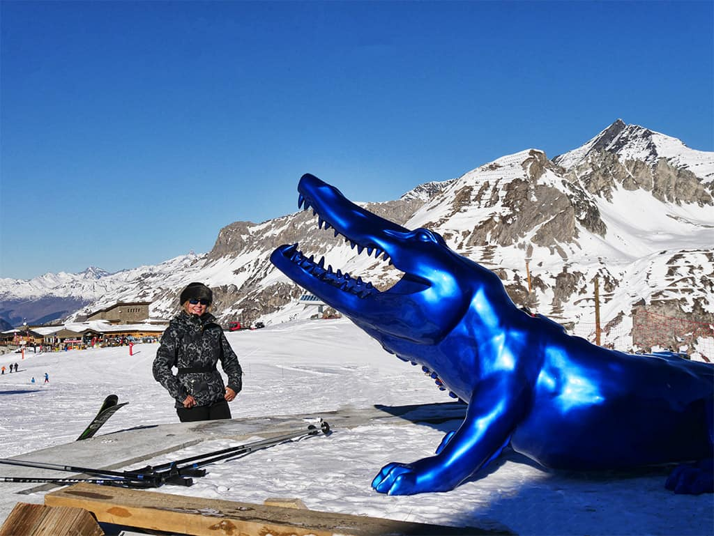 Val d'Isere crocodile sculpture