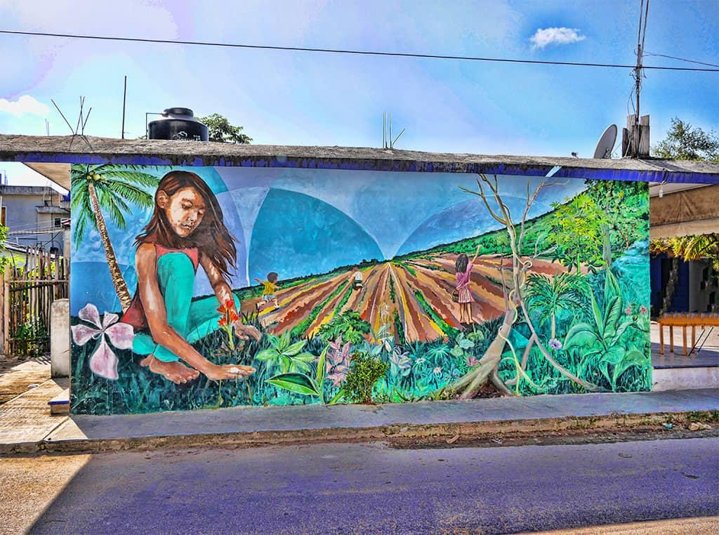 Girl mural Tulum