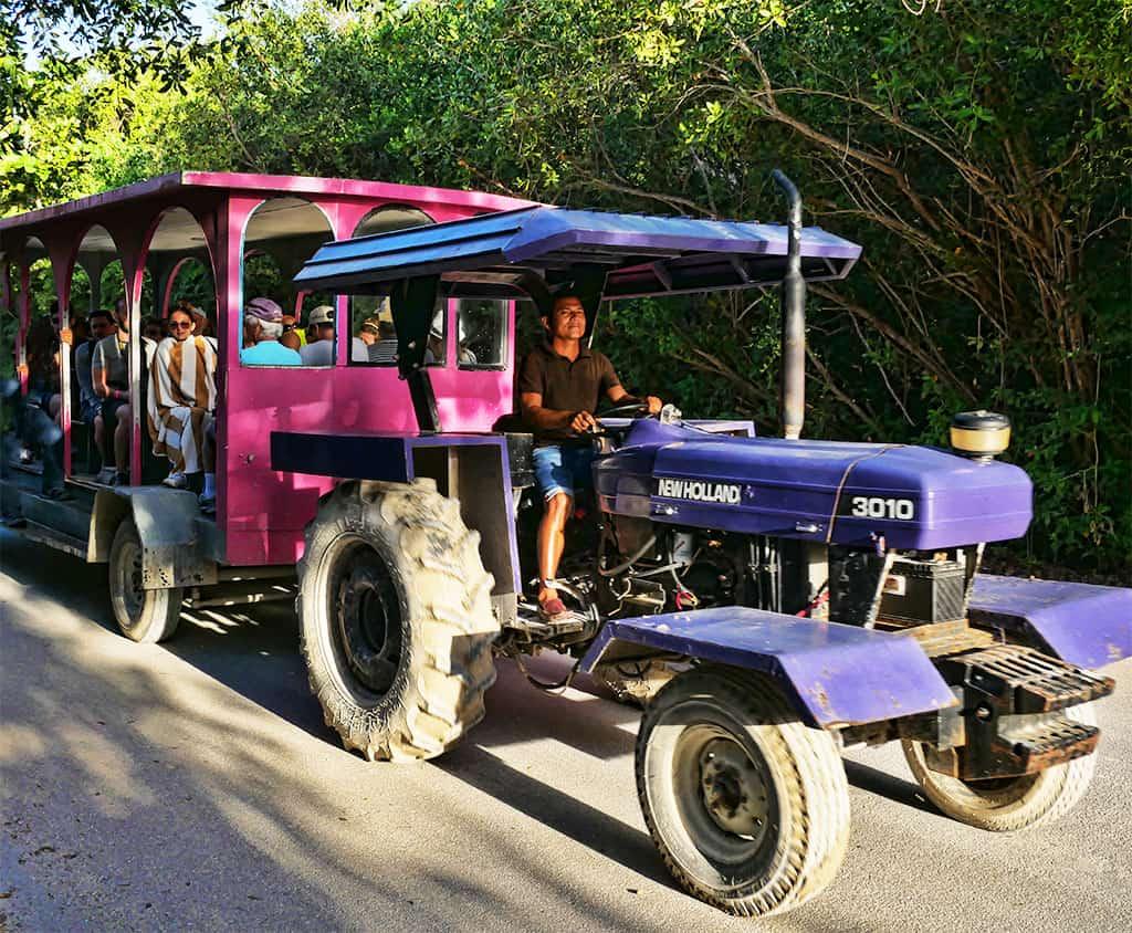 tractor drawn train in Tulum