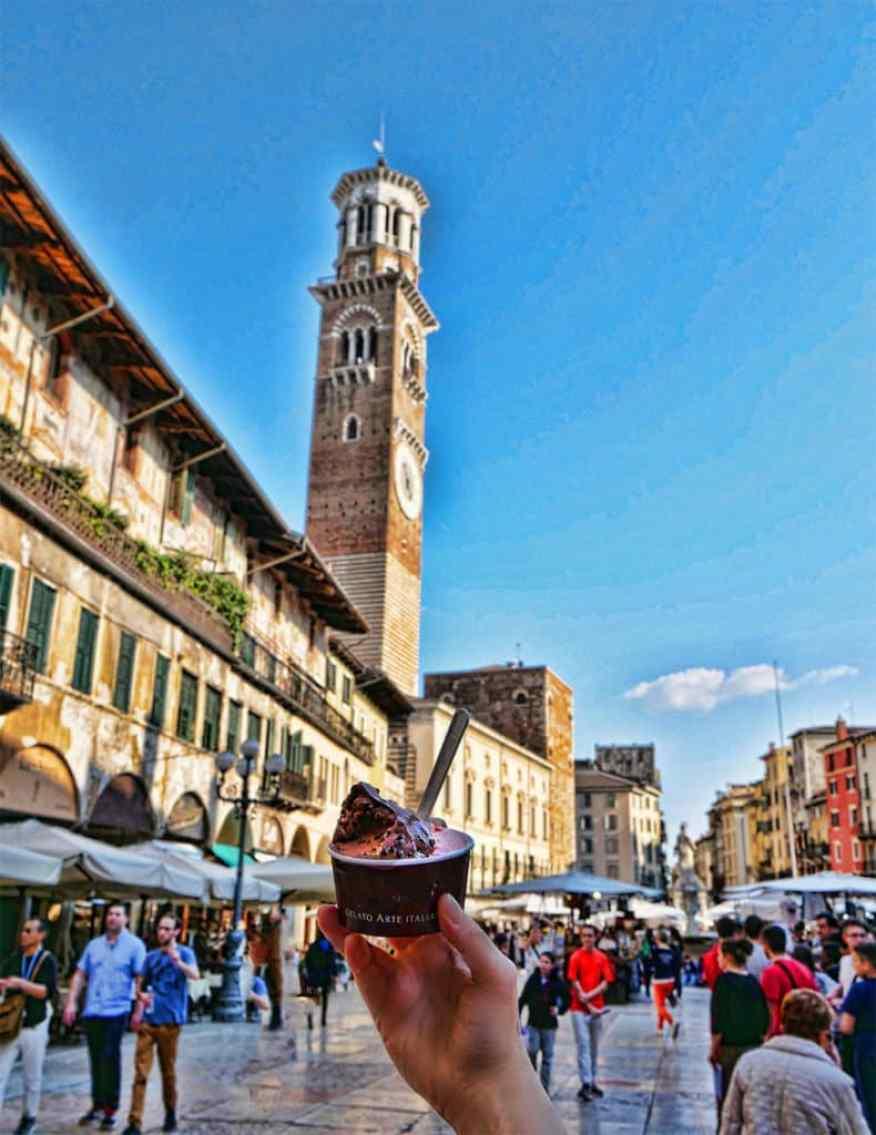 Delicious gelato from Piazza delle Erbe