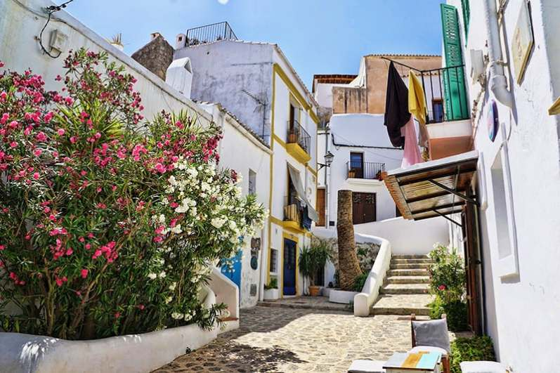 Luxury Ibiza - colorful buildings in Ibiza old town, Spain