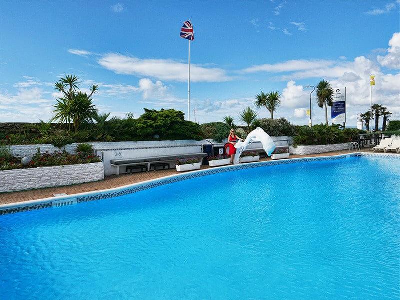 Swimming pool at The Cumberland Hotel, Bournemouth, Dorset, UK