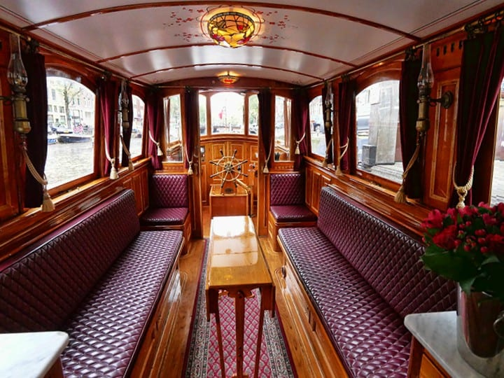 A boat ride on the historic Hotel Pulitzer boat in Amsterdam, Netherlands