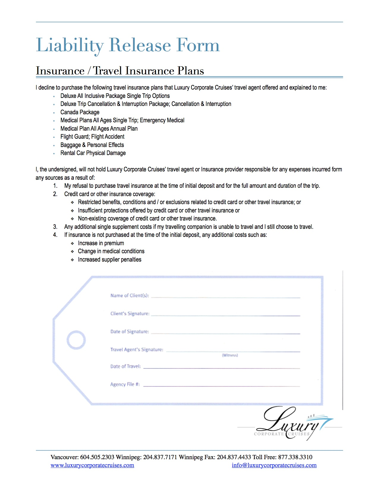 Insurance Release Form Sle Liability