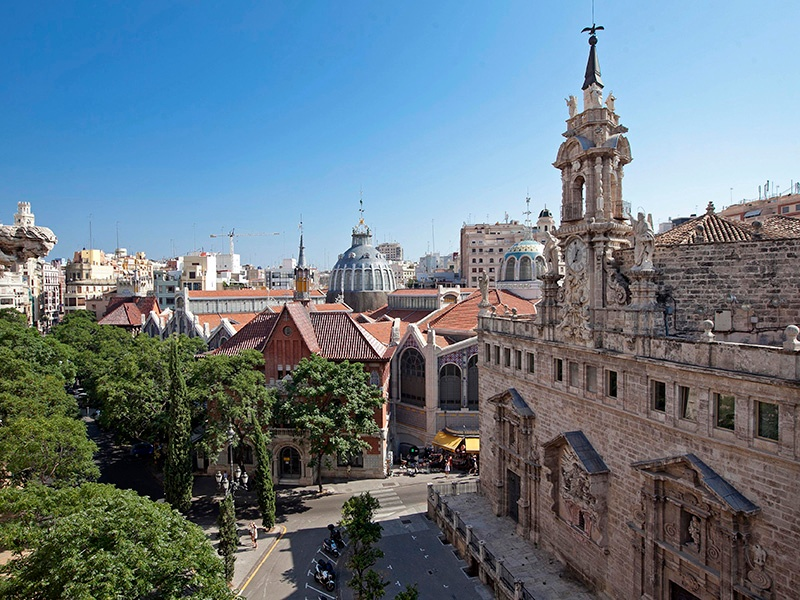 Santos Juanes church and the Central Market beyond are some of Valencia's most popular attractions. Photograph: Jorge Bellver