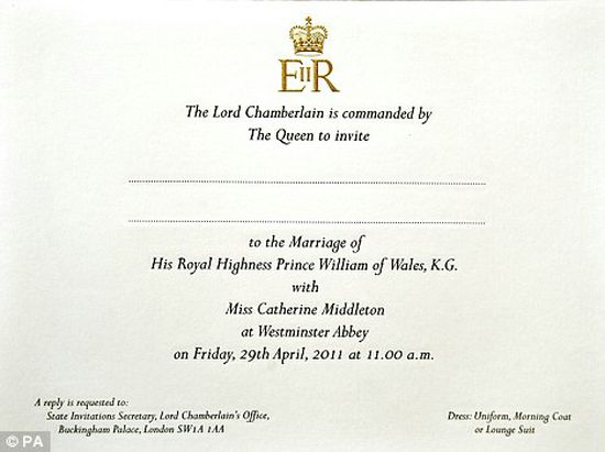 Royal Wedding: Prince William & Kate Middleton Gold Invitations