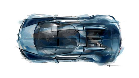 Design sketch of the Jean-Pierre Wimille inspired Grand Sport Vitesse