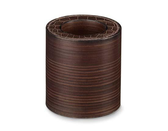 """Hermes pencil holder in black matte alligator leather. Measures 3.7"""" x 3.3"""" Ref. H046620CA89 $5,750.00"""