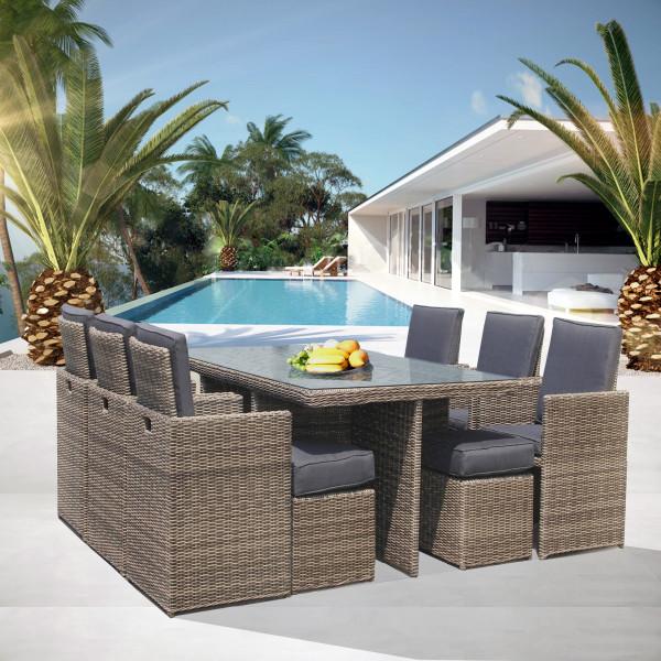 Tavolo in rattan 10 posti  arredo giardino Luxurygarden