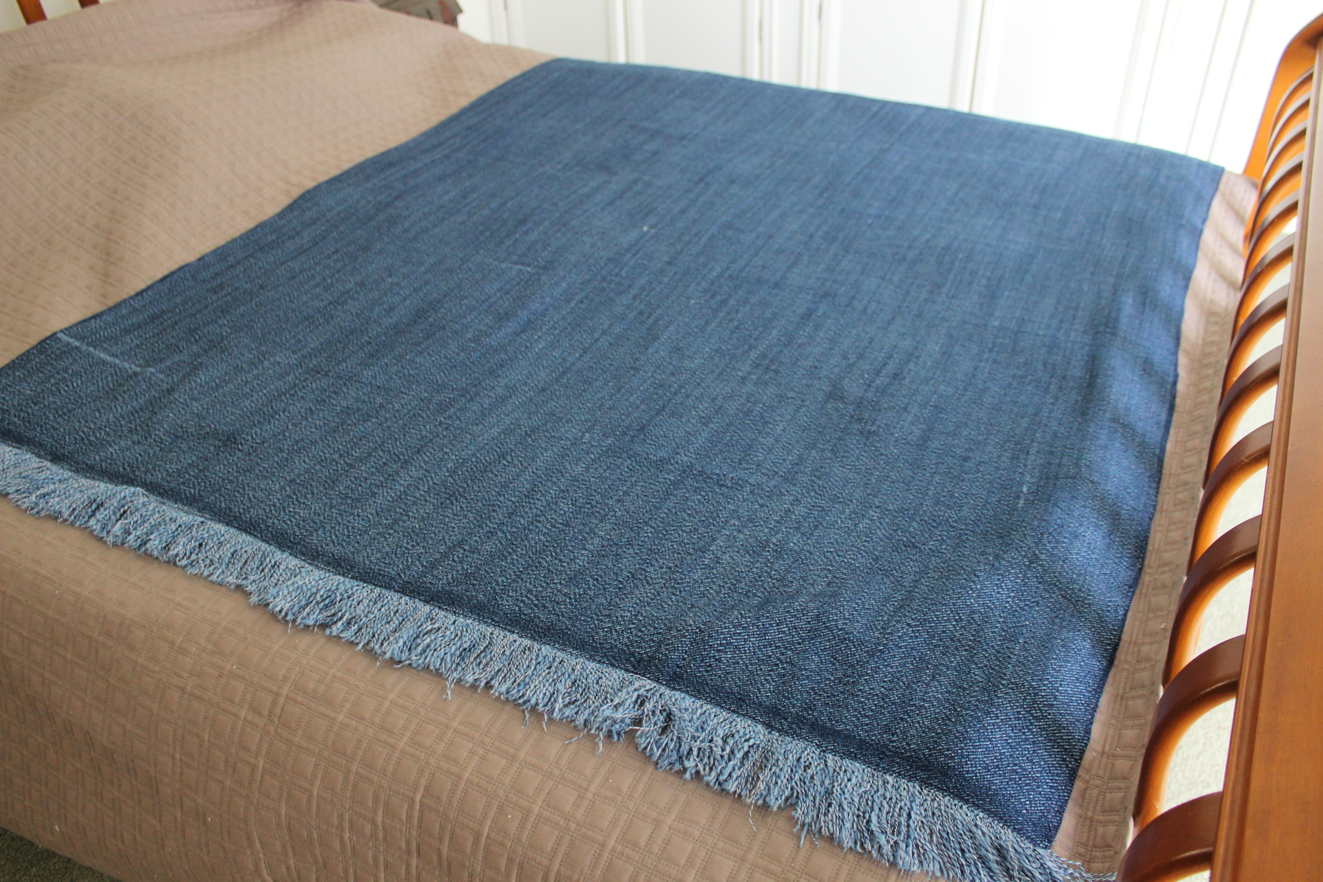 blue denim sofa bed beds for sale ikea cotton throw or rug soft