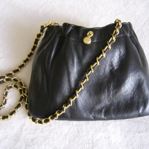 Ande Black Leather Chain Crossbody Bag