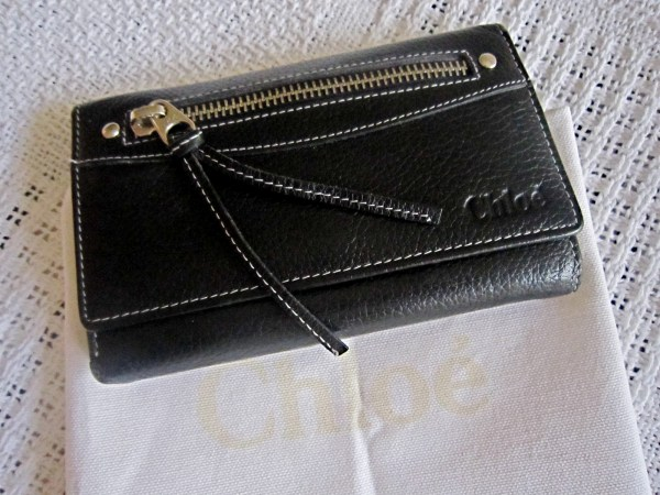 Chloe Black Leather Zip Wallet