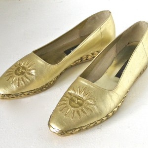 "Bally ""Starry"" Women's Laminated Gold Leather Flats"