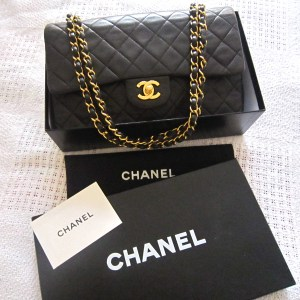 Chanel Black Lambskin Double Flap 2.55 Classic Bag