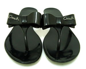 692eb37a66e054 Coach Black Jelly Bow Rubber Flip Flops - Luxurylana Boutique